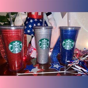 Starbucks 4th of July glitter tumblers NEW